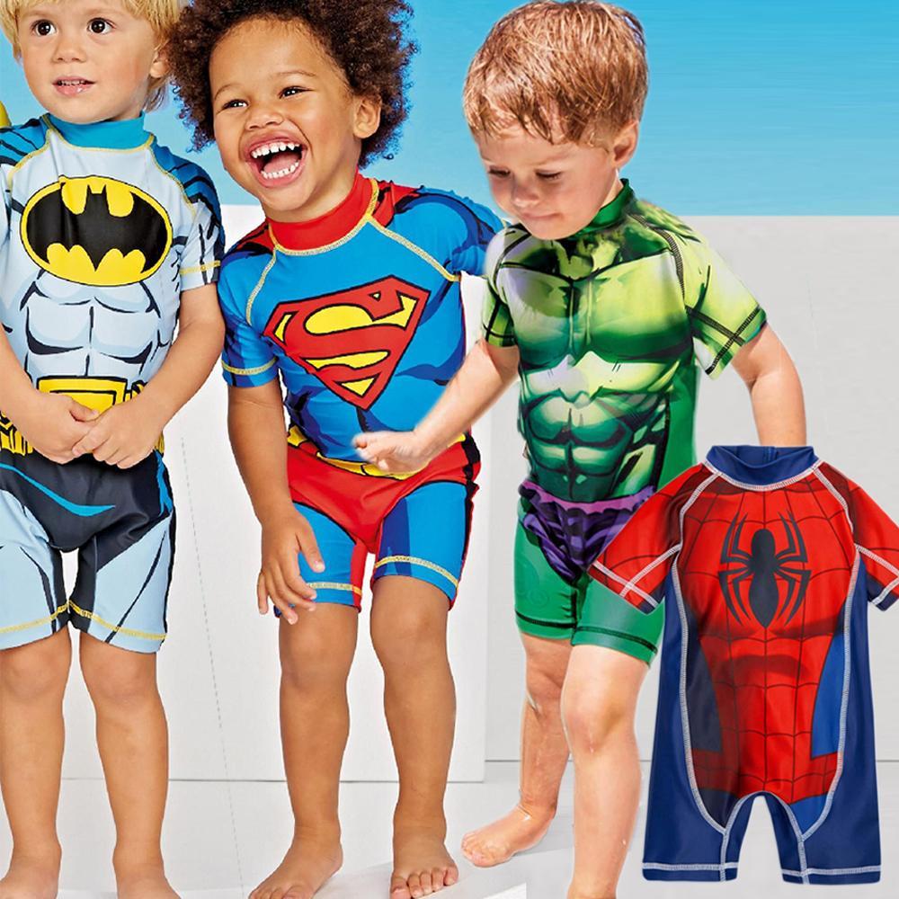 95ee2335e44c0 Kids Swimwear One Piece Boys Swimsuit Minions Batman Swimming Children  Captain America Sport Upf50+ Beachwear Baby Bathing Suit Y19051801