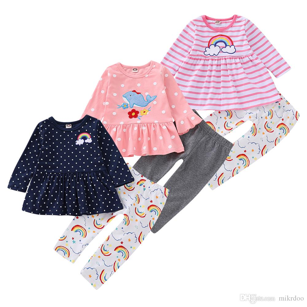eb2f3d0025d69 2019 Mikrdoo Kids Toddler Baby Girls Cute Clothes Set Polka Dot And Rainbow  Print Ruffle Top Pant Cartoon Elephant Dolphin Outfit From Mikrdoo, ...