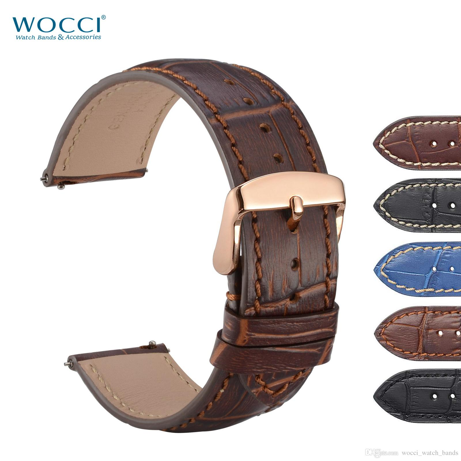e06a8768d WOCCI Watch Band 18mm 20mm 22mm Alligator Crocodile Grain Leather  Wristwatch Strap With Rose Gold Buckle Quick Release For Men Women Best Leather  Watch Band ...
