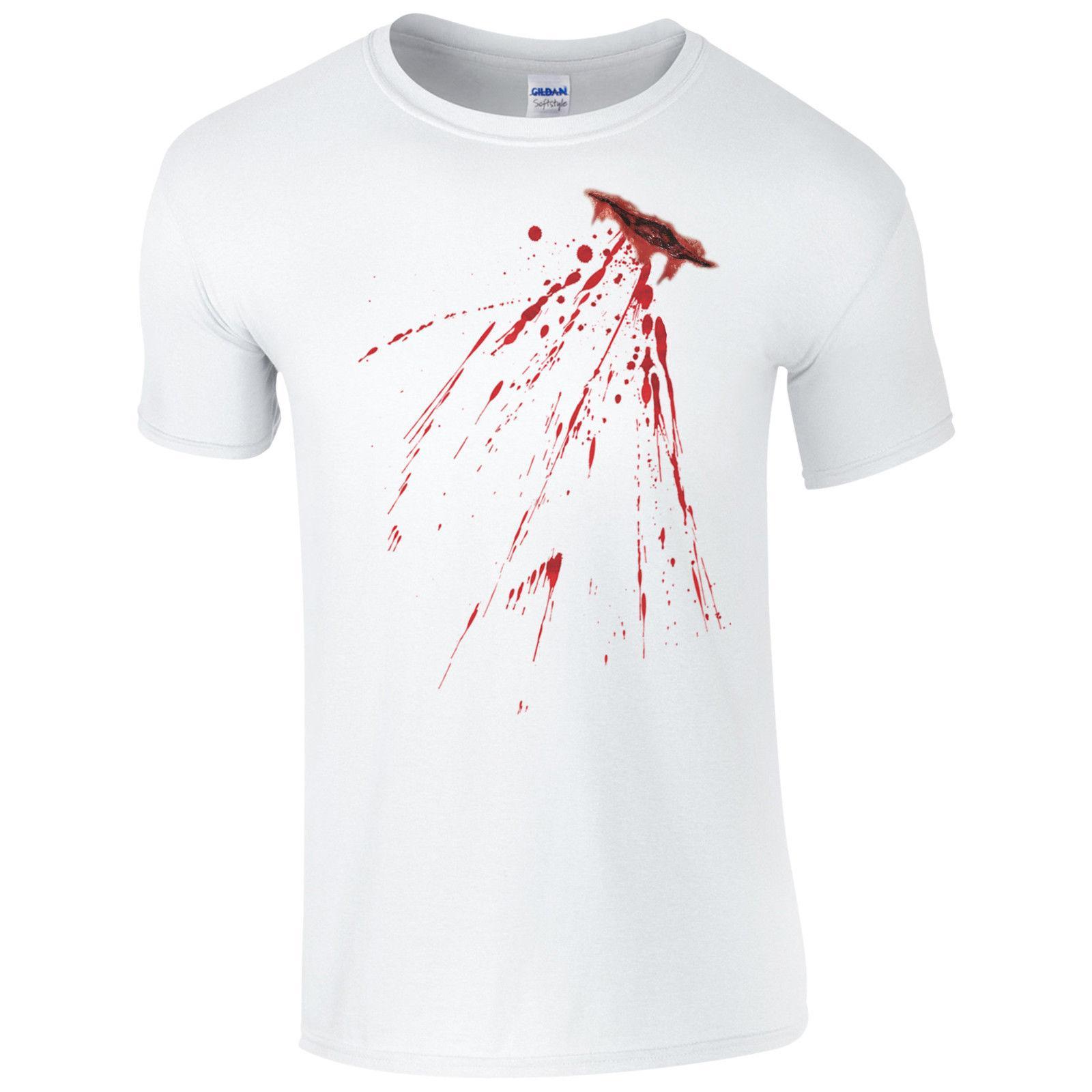 2066fd7d8 Fake Bloody Stab Wound T Shirt Halloween Knife Cut Stain Fancy Dress Mens  Top Custom Printed Tshirt, Hip Hop Funny Tee, Mens Tee Shirts T Shirts  Sites Shirt ...