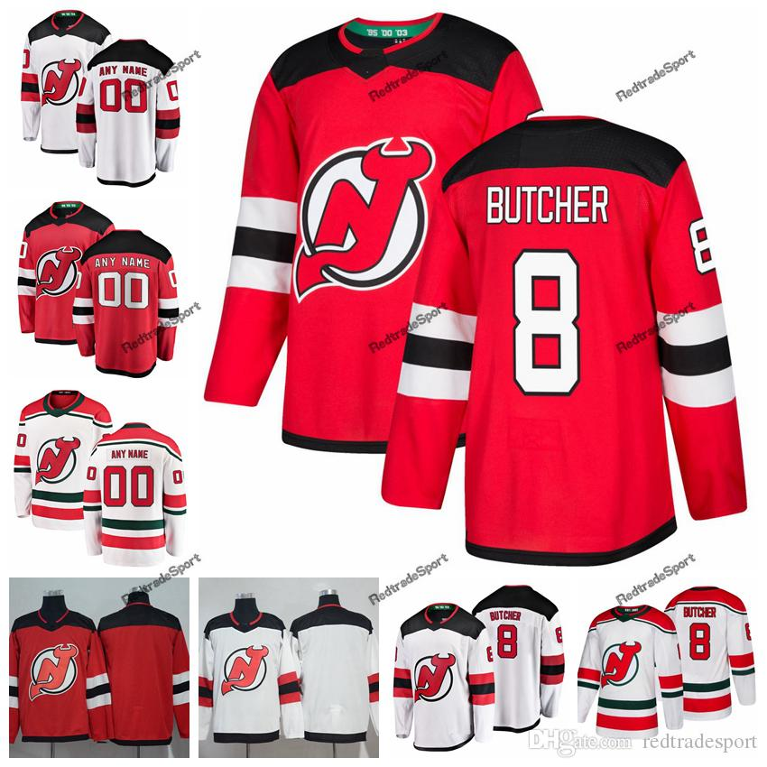 premium selection a15e1 0c1f5 2019 New Jersey Devils Will Butcher Hockey Jerseys Custom Name Alternate  White Red #8 Will Butcher Stitched Hockey Shirts S-XXXL