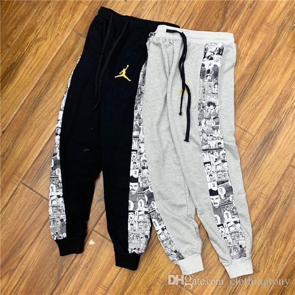 aef070bdc37695 2019 19ss Jumpman 23 Slamdunk Stitching Caricature Pants Elastic Waist  Track Pants Trousers Sport Jogger Cowboy Sweatpants Outdoor Pants From  Clothingtony