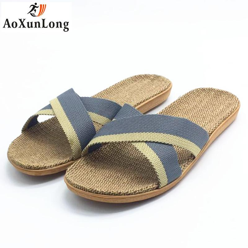 5d0807b74b5d40 Spring Men Slippers Flax Weaving Home Slippers Beach Men Sandals Casual Shoes  Flip Flop Eur 44 45 Zapatos Hombre Flip Flops Slipper Socks Moccasins For  ...