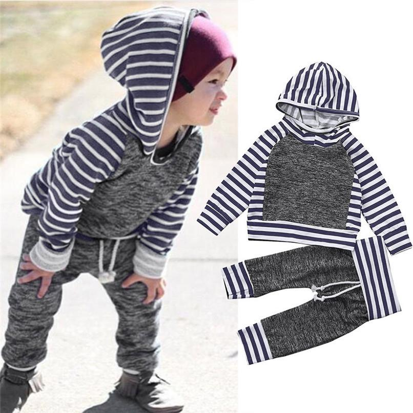 9c0ba9ffce51e 2019 Winter 2PCS Kids Clothes Boys Toddler Kids Baby Boys Girls Long Sleeve  Stripe Hooded Tops+Pant Set Clothes Kids Sets JY12#F