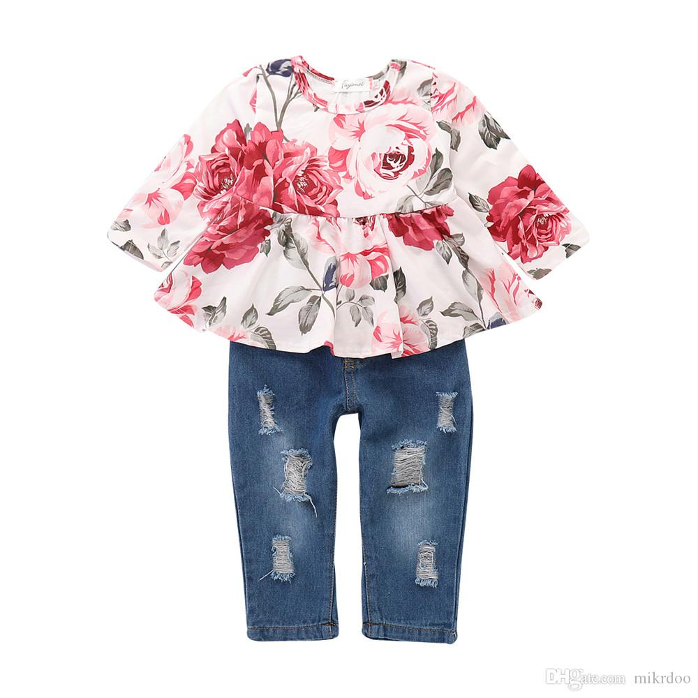 ddd2fdd3 Mikrdoo Kids Baby Girls Clothes Set Flower Long Sleeve Floral Printing Top  + Ripped Holes Jean Pant 2PCS Outfit Summer Fashion Clothing
