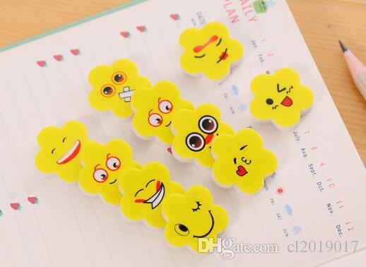 Fashion Practical Erasers For Student Pencil Eraser Yellow Flower Shape Emoji Pattern Stationery Supplies Hot Sale