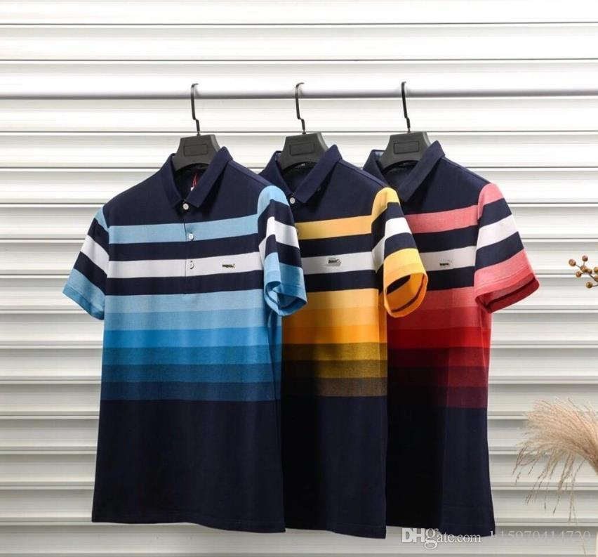 Designer Polo Cotton Stampa a colori di alta qualità Uomo traspirante Polo Luxury Casual Uomo Designer T Shirt Asian Plus Size M-3XL