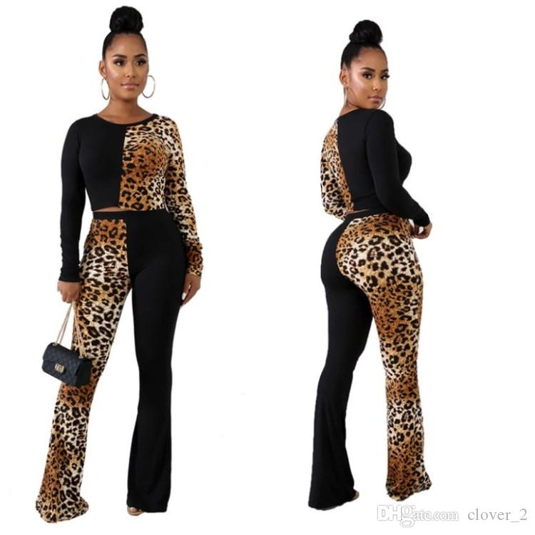 Women outfits pullover legging fashion womens tops tees shirts pants tops + pant sexy leopard suit fall womens clothing klw2425