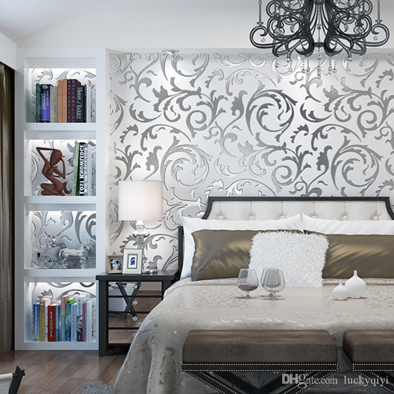 Modern minimalist 3d stereo TV background silver gold wall paper living room bedroom European hook flower leaf mural wallpaper