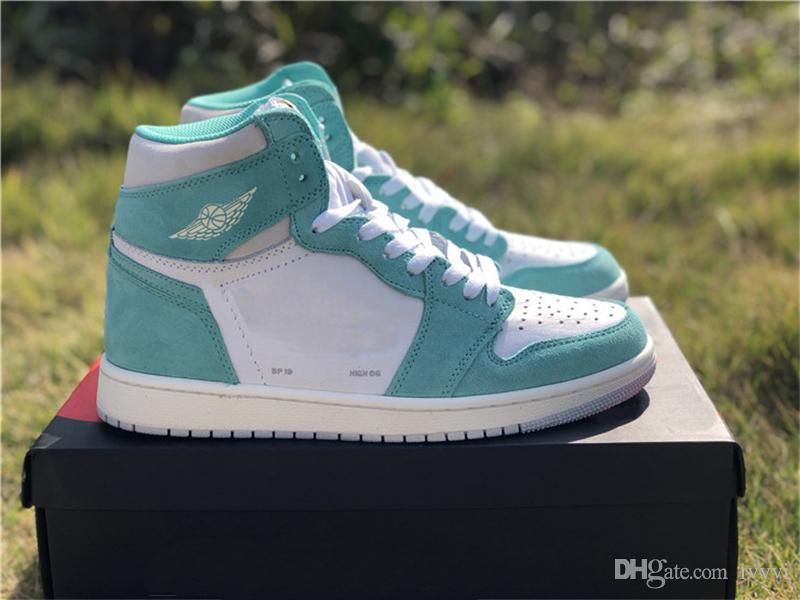 the best attitude 6ba66 34622 2019 New Release Man Basketball Shoes 1 High OG Turbo Green 1S Sneakers  Authentic Quality Original Material With Box US 7-13 555088-311
