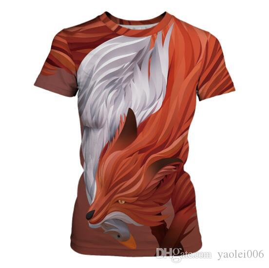 couple Best selling 3D animal digital printing lovers short-sleeved t-shirt round neck casual Europe and large size shirt sports shirt tide
