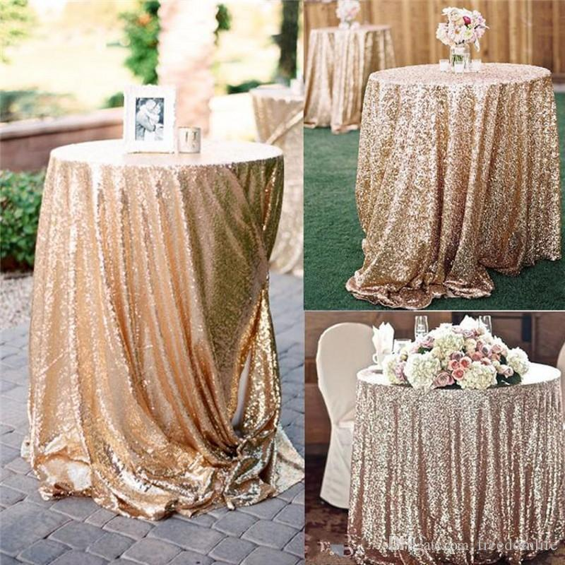 Rose Gold Sequined Tablecloth Wedding Beautiful Champagne Sequin Table Cloth / Overlay /Cover/Many size Wedding Supplies