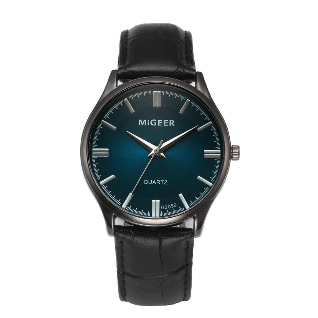 MIGEER Hombres Relojes de Pulsera Diseño Retro Banda de Cuero Reloj de Cuarzo de Aleación Analógico para hombre reloj para hombre creativo relogio