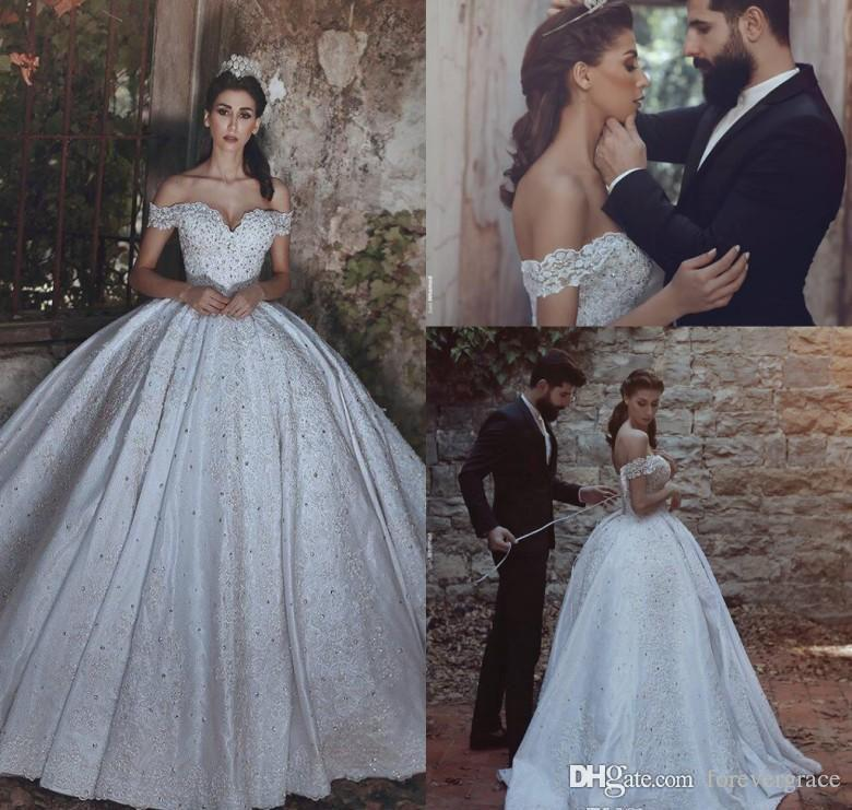 2019 Dubai Arabic Wedding Dresses Lace Appliques Off: 2019 Vintage Arabic Dubai Long Wedding Dress Princess Off