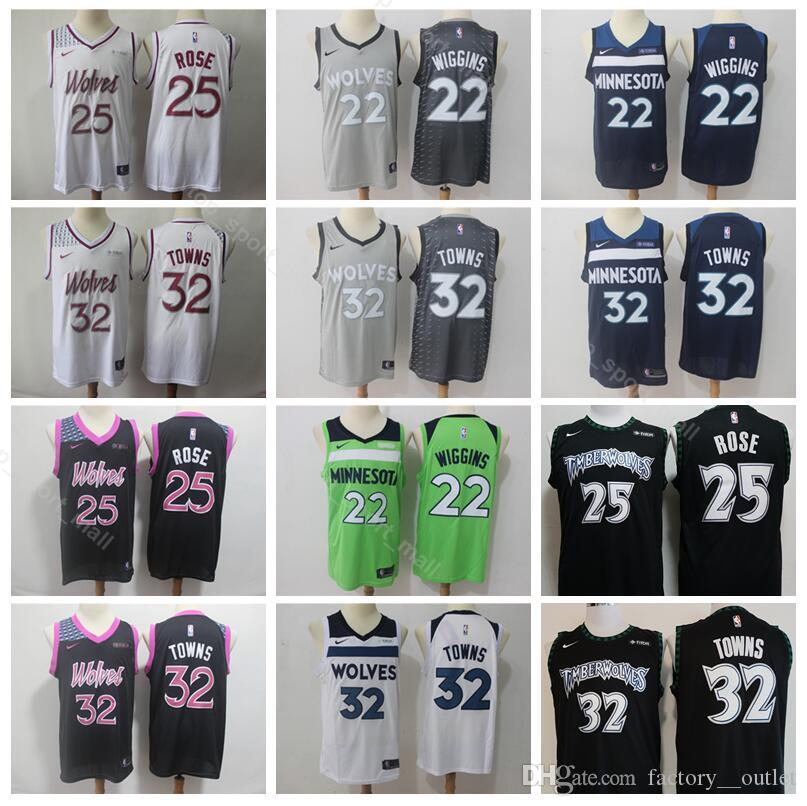 b315d34b521 2019 2019 City Earned Edition Derrick 25 Rose Jersey Minnesota Basketball Timberwolves  Karl Anthony 32 Towns Andrew 22 Wiggins Black White Green From ...