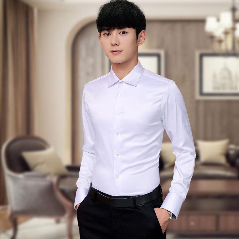 Plus Size 5XL 2019New Men s Luxury Shirts Wedding Party Dress Long Sleeve  Shirt Silk Tuxedo Shirt Men Mercerized Cotton