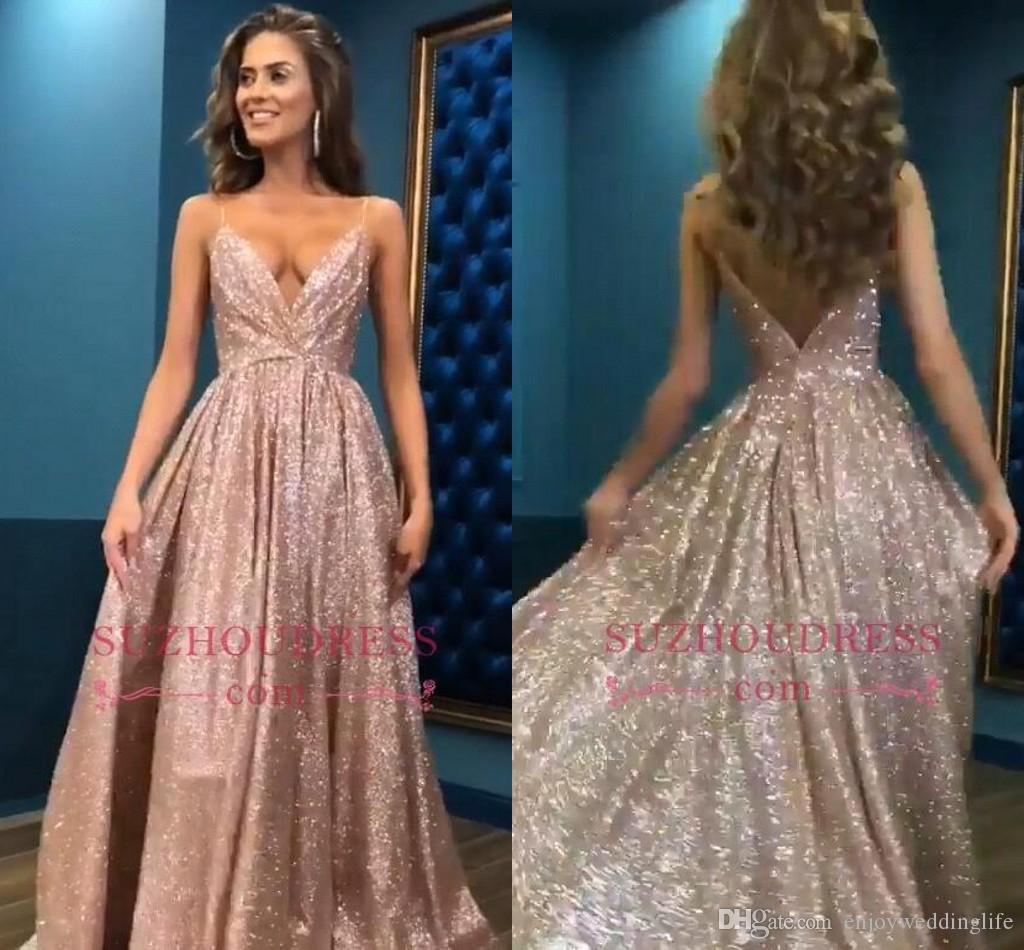 f5933602fde8 Rose Gold Sparkly Sequined Prom Dresses Straps Deep V Neck Sexy Backless  Long Evening Party Gowns Cheap Prom Evening Gowns BC0494 Jr Prom Dresses  Long White ...