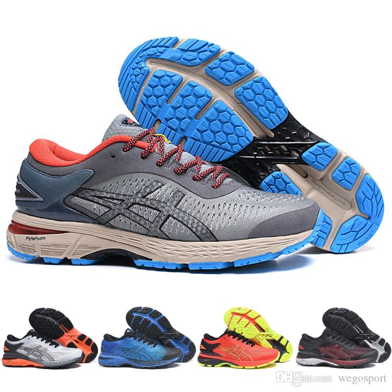 2019 Asics GEL KAYANO 25 Cushioning Chaussures De Course Balck Orange Tisse Vamp Original Hommes Femmes Designer Sport Baskets 40 45