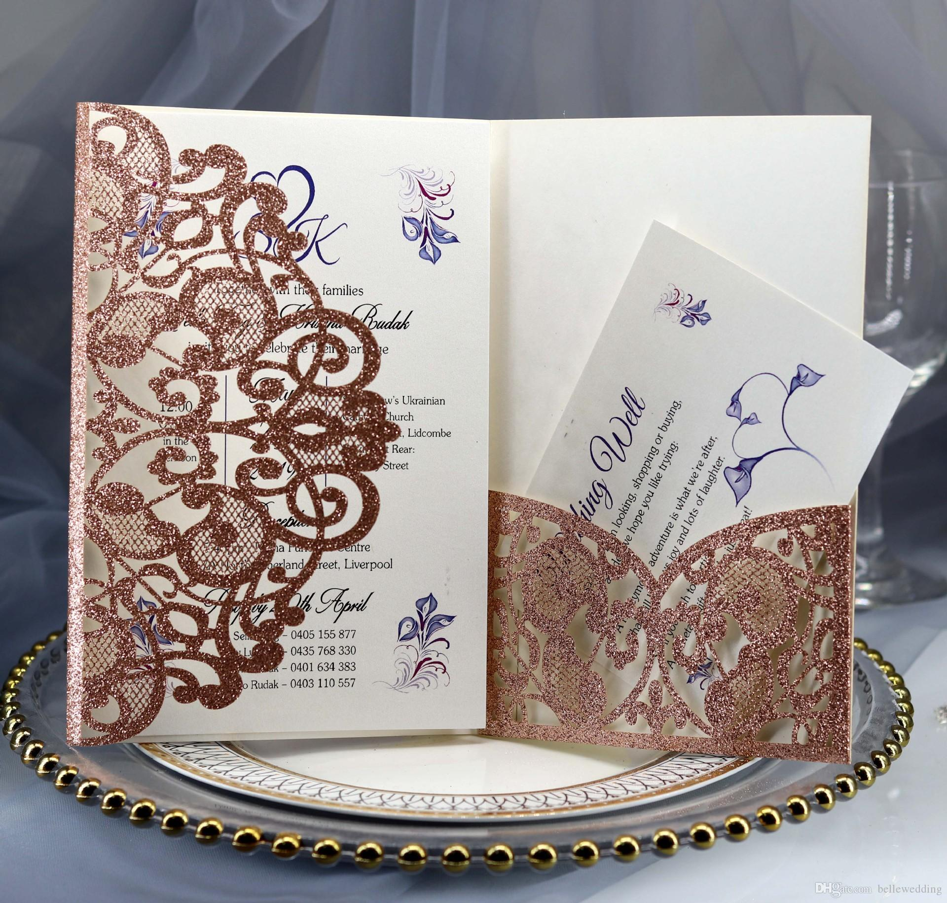 Personalized Wedding Invitations.Gllitering Laser Cut Wedding Invitations Oem In Multi Colors Customized Hollow Folding Personalized Wedding Invitation Cards Bw Hk119b