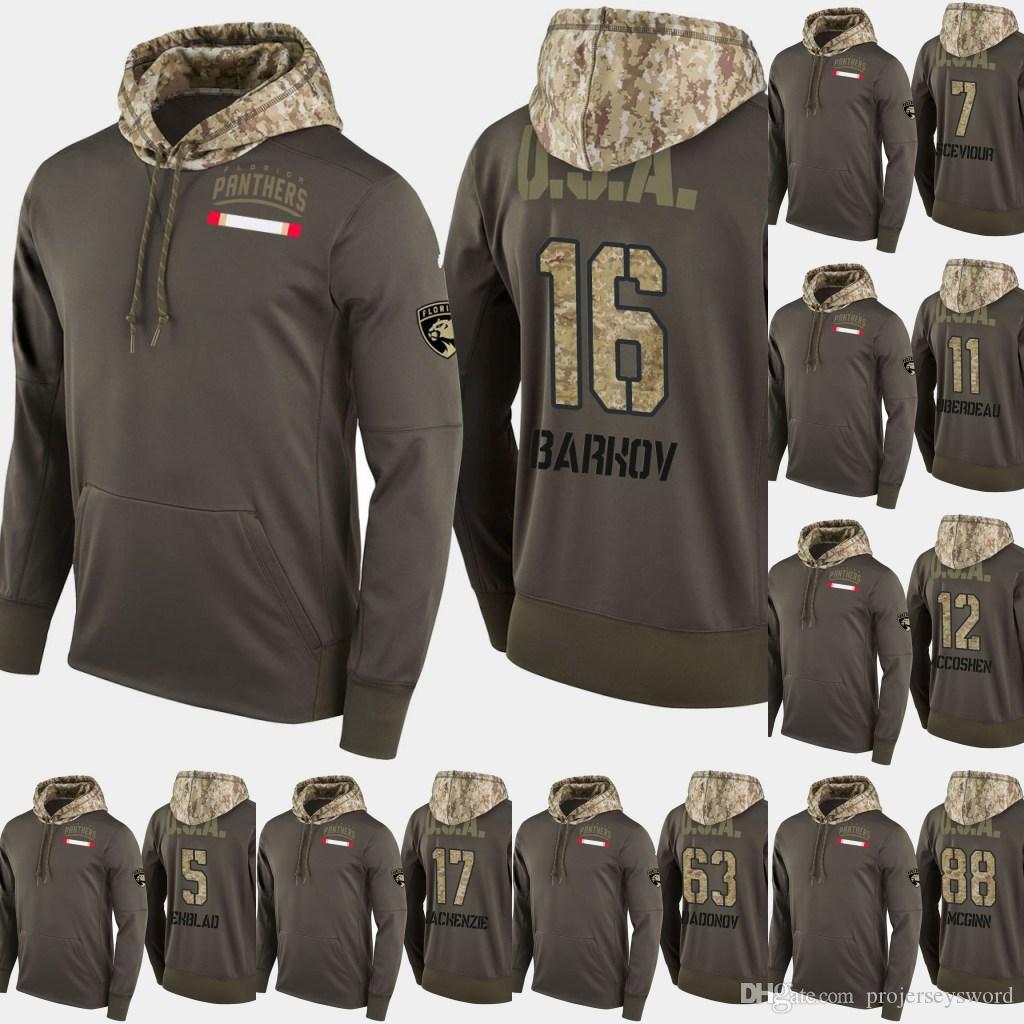 cheap for discount 6e672 dbaa1 Florida Panthers Salute To Service Hoodies 16 Aleksander Barkov 7 Colton  Sceviour 11 Jonathan Huberdeau Hockey Sweatershirt Jerseys