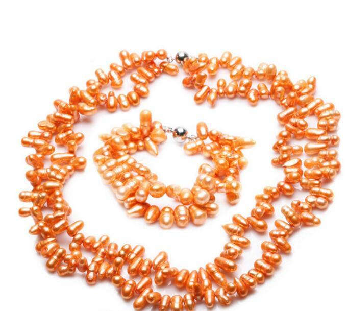 Free Shipping ++ + Set Orange Color Cultured Freshwater Pearl Necklace & Bracelet Fashion Jewelry (A0423)