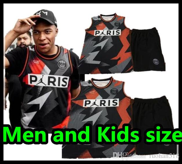 2019 psg soccer Jersey Basketball X AJ clothes black Paris Saint MBAPPE Michael boy set vest men and kids kit Germain