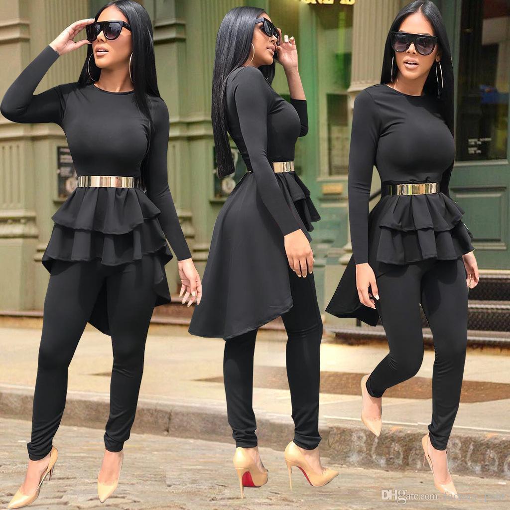 d1bd6d856f51 Plain Black Frauen Zweiteiler Rüschen High Low Langarm T-shirt Top Dünne  Hosen Mode Lässig Outfits Kostüme Billiger Preis