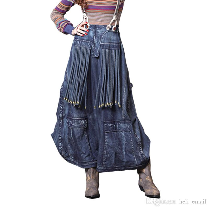 2cb7ecb07 2019 2018 Autumn And Winter Retro Vintage Fringed Lantern Denim Long Female  Skirt Designs / Maxi Long Jeans Skirts Womens From Heli_email, $47.24 |  DHgate.