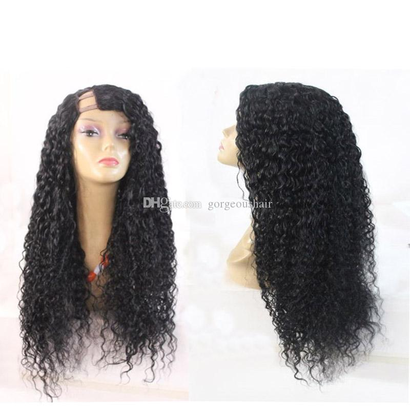 7A Glueless U Part Human Hair Virgin Brazilian Kinky Curly Upart Wigs Middle Part U-Part Wigs For Black Women Top Quality 150Density