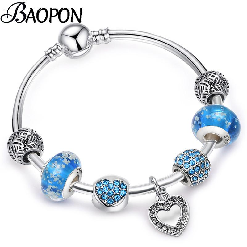 611ba8b56e456 BAOPON Luxury Heart Pendant Bracelet Unique Silver Crystal Charm Bracelet  For Women DIY Fine Bracelets & Bangles Jewelry Gift