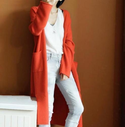 Taschen Mantel Lange Jacke Wollmischungen Langarm Frauen Outwear Long Jacket