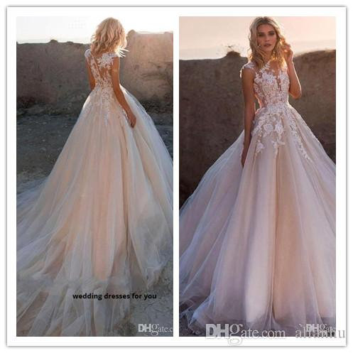 2020 Neck Lace Appliqued Sleeveless Tulle A Line Wedding Dresses With Sweep Train Sweet Ball Gown Bridal Gowns With Covered Button