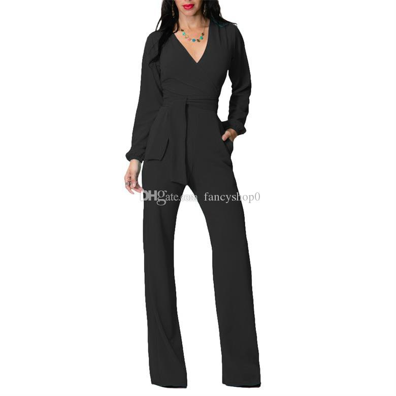27d4f7b716f1 2019 2018 High Fashion Bodysuits V Neck Long Sleeve Jumpsuit Pocket Black  Red Blue Jumpsuits Top Quality Women S Clothing Casual Bodycon Pants From  ...