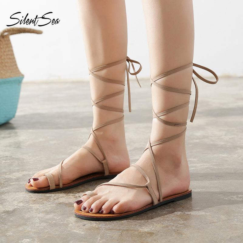 Silentsea New Fashion Summer Flats Sandali Donna Gladiator Causale Roma Style Flats Sandali Lace Up Beach Shoes Plus Size Albicocca