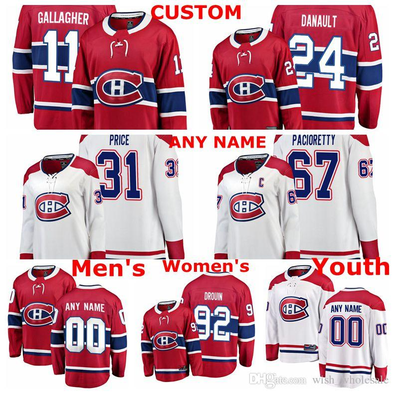 best service 63eeb b2615 Montreal Canadiens Jerseys Jonathan Drouin Jersey Phillip Danault Carey  Price Max Pacioretty Brendan Gallagher Red White Hockey Jerseys Cust