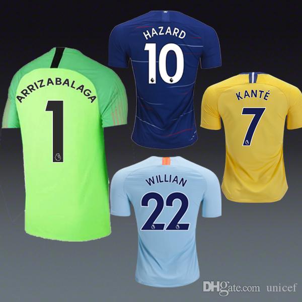 Soccer Jersey Eden Hazard 18 19 Home Away Third Yellow Grey Shirts ... 38e9c32b5