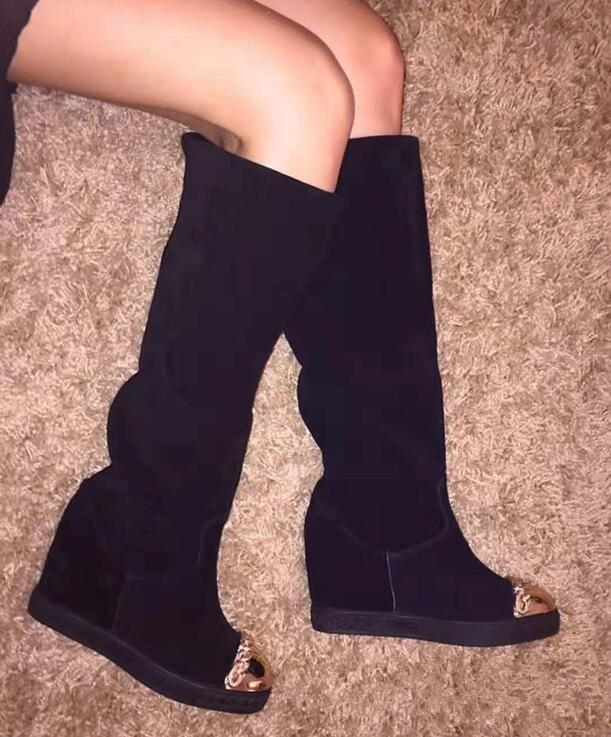 f51071aef5e Black Suede Leather Women Round Toe Knee High Boots Golden Chain Ladies  Slip On High Heel Boots Increased Heel Casual Style Boot Black Boots Boots  Pharmacy ...