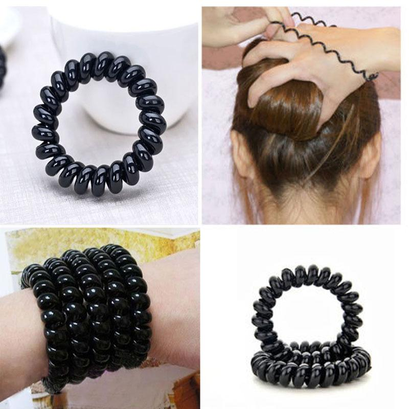 Black Hair Ropes Elastic Rubber Hairband Plastic Spiral Headbands Ties  Headwear Ponytail Holder Hair Accessories For Women Women Hair Bands Hair  Bands Women ... c02eeb9ec62
