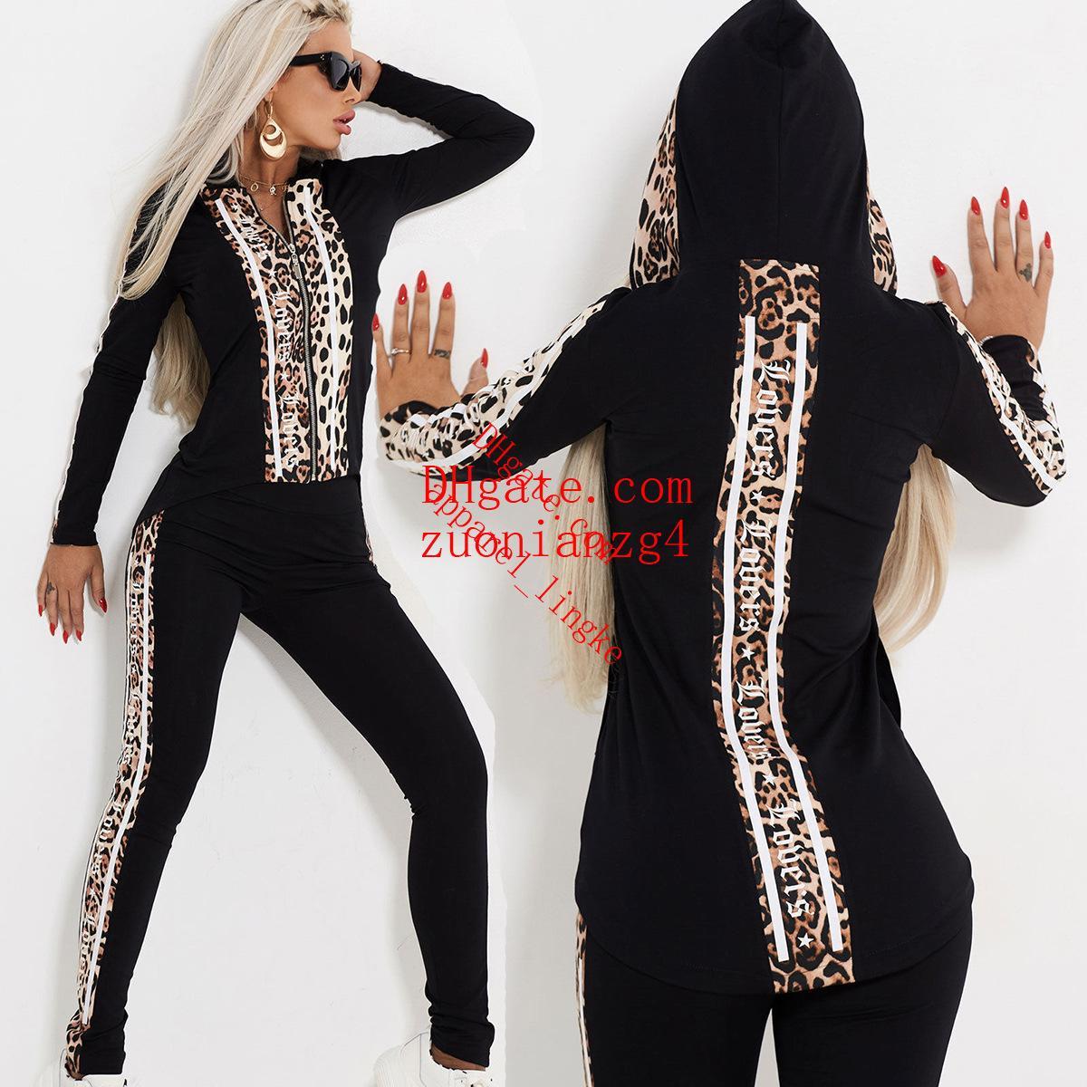 87d89913fa2b 2019 Season Women's Clothes Sexy Leopard Print Zipper Even Cap Leisure Time  Suit