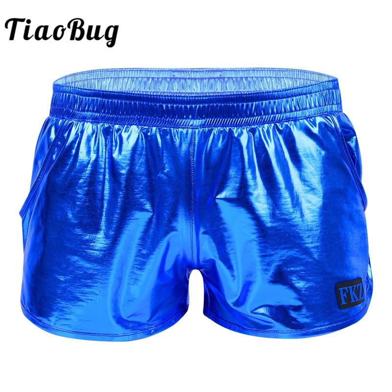 89250b4ad4 TiaoBug Brillant Métallique Taille Basse Élastique Ceinture Hommes Boxer  Shorts Club Rave Danse Performance Sur scène Costume De Maillot De Bain ...