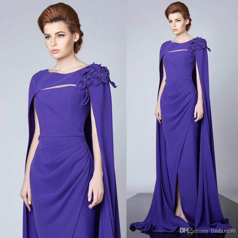 a15515935 Compre Barato Sirena Púrpura Dividida Vestidos De Baile Con Cabo Sin Mangas  Con Apliques Vestidos De Noche Hasta El Suelo Sin Tirantes Por Encargo  Vestido ...
