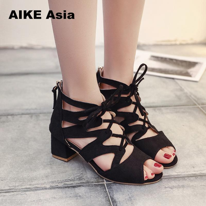 2019 Abito Moda Donna pumps Gladiator Peep Toe Tacco sottile Estate Donna Tacchi alti Scarpe Casual Lace Up Ankle Strap Women Pumps