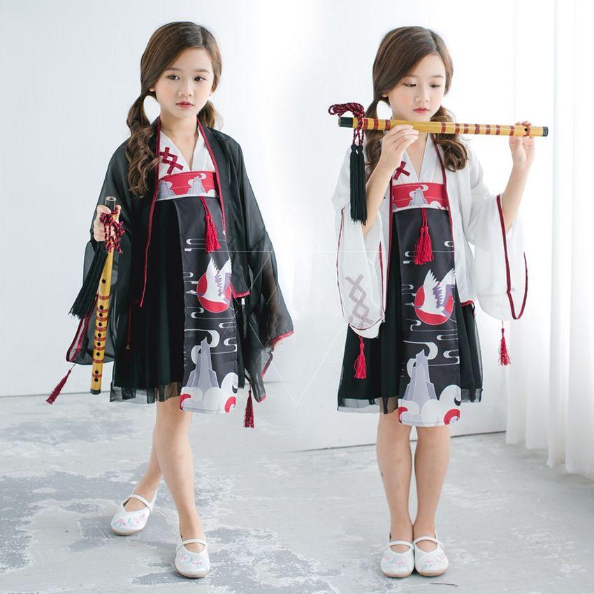 bd8b7520de559 Japanese Traditional Cosplay Costumes Girl Kimono 3PCs Dresses for Kids  Girls Bathrobe Yukata Lace Children Crane Kimono
