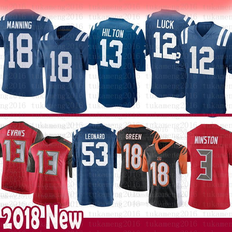 a6be124736c 2019 Indianapolis 12 Colts Andrew Luck 13 T.Y. Hilton 18 Peyton Manning  Jersey 53 Darius Leonard Buccaneer 3 Winston 13 Evans Bengals A.J. Green  From ...