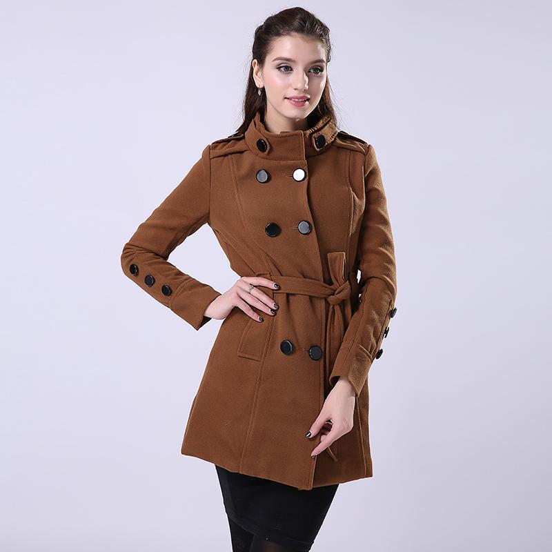 f13741e9f FIONTO New Women Trench Woolen Coat Winter Slim Double Breasted Overcoat  Winter Coats Long Outerwear for Women F014 Online with $36.12/Piece on  Jungee's ...