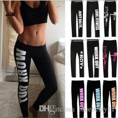 Work Out Letter Printed Ladies Women Sports Yoga Gym Wear Trousers Leggings Workout Running Fitness Pants Black for Women