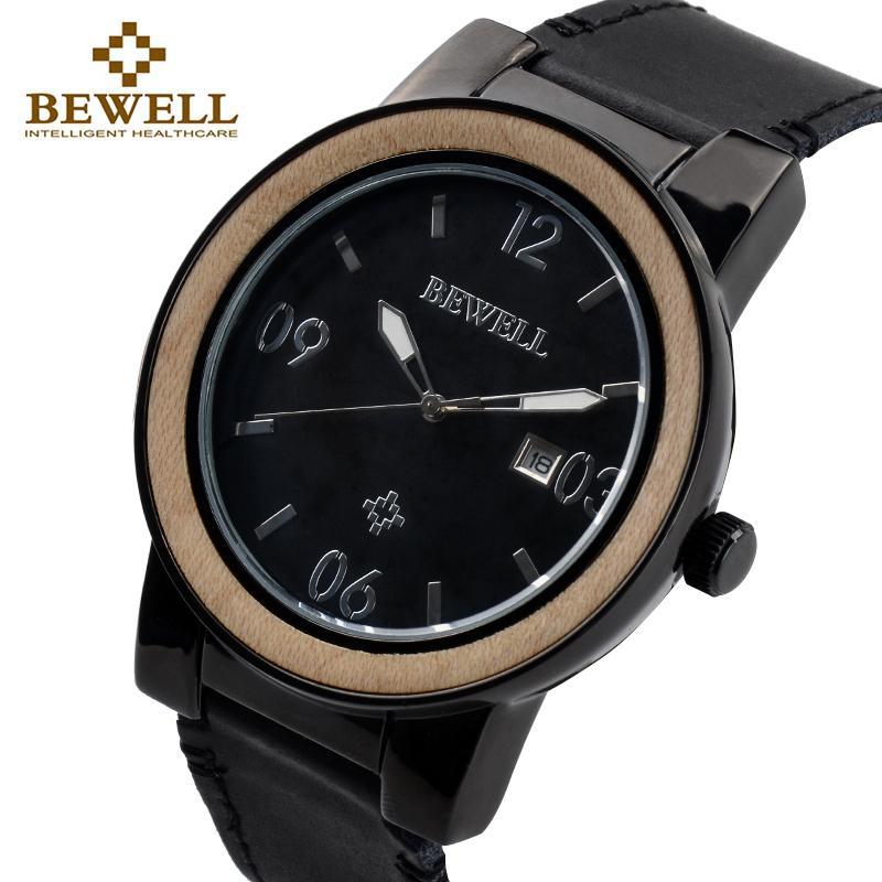 938cb3d2fe8 Compre BEWELL Top Marca De Luxo Homens Relógio De Madeira Relógios Liga  Masculino Com Pulseira De Couro Data De Exibição Mãos Luminosas Relógio À  Prova D   ...