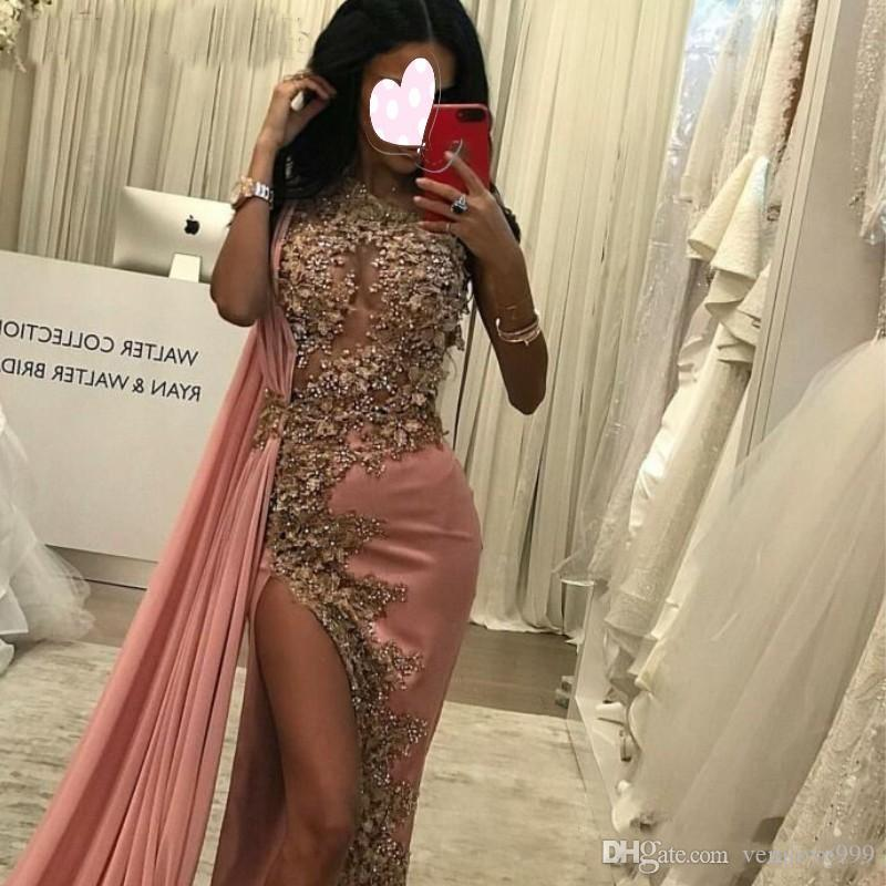 Arabic Pink Sheath Evening Dresses One Shoulder Sexy Side Split Long Dubai Prom Dresses 2019 Elegant Lace Beads Formal Gowns