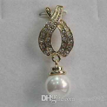 Free Shipping new 18KGP with crystal decorated +12mm white shell pearl pendant