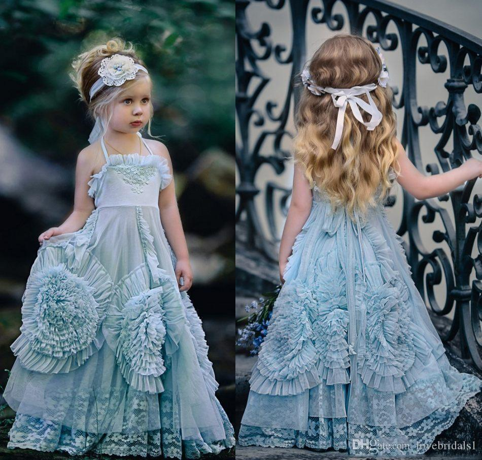 Vintage Dresses Blue Wedding: 2019 Dusty Blue Halter Flower Girls Dresses For Beach